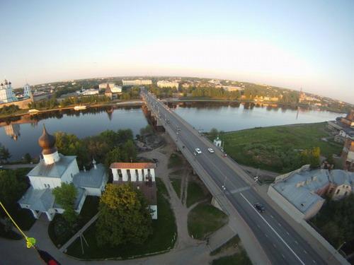Псков с высоты, вид на Ольгинский мост